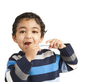 Portrait of a Toddler Brushing His Teeth. Isolated, White royalty free stock photo