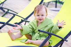 Portrait of a toddler in the lounge chair Stock Photography