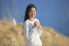 Portrait toothy smiling face of asian girl relaxing emotion outd Royalty Free Stock Photos