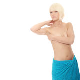 Portrait of  topless caucasian woman Stock Images