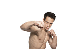 Portrait Of Tough Boxing Guy Punching Royalty Free Stock Image