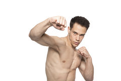 Portrait Of Tough Boxing Guy Punching Royalty Free Stock Photos
