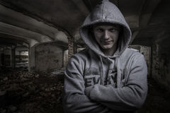 Portrait of a tough guy,showing expressions Royalty Free Stock Photo