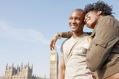 Portrait of tourist couple on Westminster. Royalty Free Stock Images