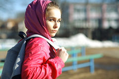 Portrait of a tourist girl Stock Photo
