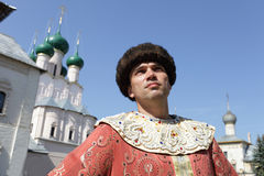 Portrait of tourist in historical clothes Stock Photos
