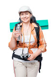 Portrait of a tourist with a water bottle and backpack Stock Photography