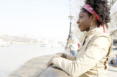 Portrait of tourist woman in London. Stock Photo