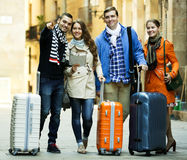 Portrait of tourists with map Royalty Free Stock Photos