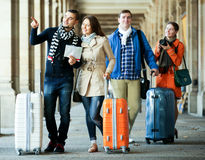 Portrait of tourists with map Stock Images