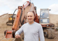 Portrait of tractor operator. At sand pit Royalty Free Stock Photography