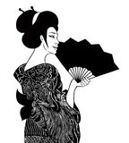 Portrait of traditional beautiful Japanese women with fan. Geisha girl in kimono with dragon pattern, holding a fan with a drawn. Flowers. Vector illustration stock illustration