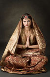 Portrait with traditional indian costume stock images