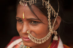 Portrait of traditional Indian girl thinking Royalty Free Stock Photo