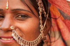 Portrait of traditional Indian woman in saree Stock Photo
