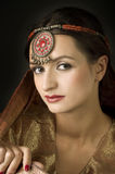 Portrait with traditionl costume Royalty Free Stock Images