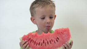 Portrait tranche de pastèque rouge savoureuse acérée d'enfant affectueux de grande, nourriture saine banque de vidéos