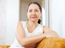 Portrait of  tranquil beauty mature woman Stock Photos