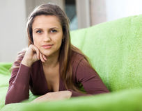 Portrait of tranquil woman  in home Royalty Free Stock Images