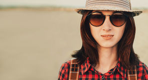 Portrait of traveler beautiful young woman Royalty Free Stock Photography