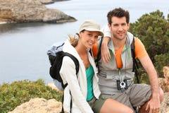 Portrait of travellers on island of Ibiza Stock Photo