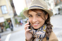 Portrait of trendy brunette in the streets of new york Royalty Free Stock Image