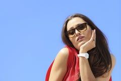 Portrait of trendy cool teenage girl in sunglasses Stock Photo