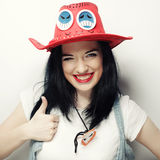 Portrait of Trendy Hipster Girl in Red Hat Royalty Free Stock Images