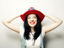Portrait of Trendy Hipster Girl in Red Hat Stock Images