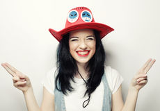 Portrait of Trendy Hipster Girl in Red Hat Stock Photos