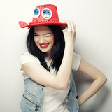 Portrait of Trendy Hipster Girl in Red Hat Stock Photo