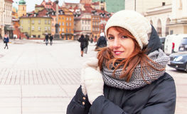 Portrait of trendy hipster girl in winter clothes. Stock Photo