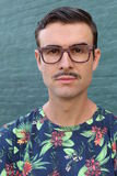 Portrait of a trendy man with a mustache.  Royalty Free Stock Photos
