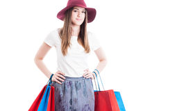 Portrait of trendy shopaholic posing in casual clothes Royalty Free Stock Image