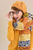 Portrait of trendy woman in winter clothes Royalty Free Stock Images