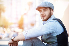 Portrait of a trendy young man in the city Royalty Free Stock Photography
