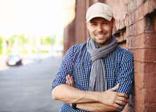 Portrait of trendy young man in the city Stock Photos