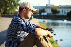 Portrait of trendy young man in the city Royalty Free Stock Images