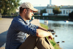 Portrait of trendy young man in the city Stock Image
