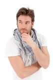 Portrait of trendy young man thinking. Stock Photography