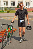 Portrait of triathlon  competition participant Stock Images