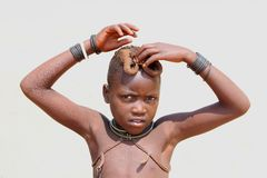 Portrait tribal African ethnic child Himba, Namibia Royalty Free Stock Photo