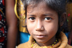 Portrait of tribal children in a village Kumrokhali, India Royalty Free Stock Photos