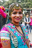 PORTRAIT OF A TRIBAL DANCER, UDAIPUR DISTRICT, RAJASTHAN, INDIA Stock Photos