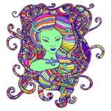Portrait tribal de femme avec des cheveux - illustration psychédélique fantastique illustration stock