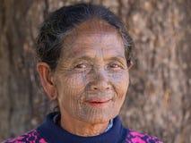 Portrait tribe tattooed Chin woman. Mrauk U, Myanmar Stock Images