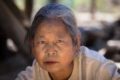 Portrait tribe tattooed Chin woman. Mrauk U, Myanmar Royalty Free Stock Photography