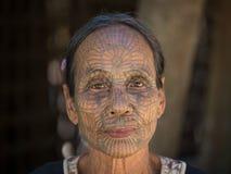 Portrait tribe tattooed Chin woman. Mrauk U, Myanmar Stock Photography