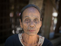 Portrait tribe tattooed Chin woman. Mrauk U, Myanmar Royalty Free Stock Images