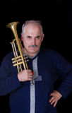 Portrait of trumpeter. Meditating on musical composition Stock Photo